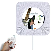 CD Player Bluetooth, Alice Dreams Hi-Fi CD Music Player wall Mountable stand up with Remote Control,USB,MP3 3.5MM Headphone Audio jack AUX input/output (White)