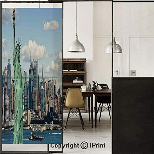 (New York 3D Decorative Film Privacy Window Film No Glue,Frosted Film Decorative,Statue of Liberty in NYC Harbor Urban City Print Famous Cultural Landmark Picture,for Home&Office,23.6x59Inch Mint Blue)