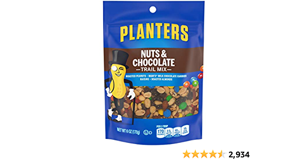 Planters Nuts & Chocolate M&M's Trail Mix (6 oz Pouches, Pack of 1)