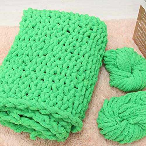 Huge Chunky Green Chenille Knit Blanket Super Chunky Hand Knit Throw,Hand Knitted Chenille Throw Blankets,Thick Knit Blanket 47''x59'' Boy Girl Gift by Vesna market (Image #2)