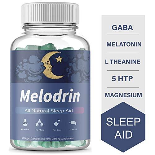 Melodrin - Natural Sleep Aid Supplement with GABA, Melatonin, 5 HTP, Magnesium & L Theanine. 60 Vegan Capsules. Insomnia Relief, Non Habit Forming Pills.