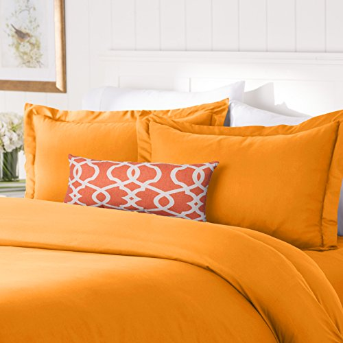Bed Elite Comforter Set - Elegant Comfort #1 Best Bedding Duvet Cover Set! 1500 Thread Count Egyptian Quality Luxurious Silky-Soft WRINKLE FREE 3-Piece Duvet Cover Set, Full/Queen, Elite Orange