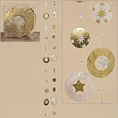 Capiz-Girlande,gold,sort L120