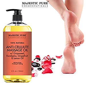 Majestic Pure Anti Cellulite Treatment Massage Oil, Unique Blend of Massage Essential Oils - Improves Skin Firmness, More Effective Than Cellulite Cream, 8 fl oz