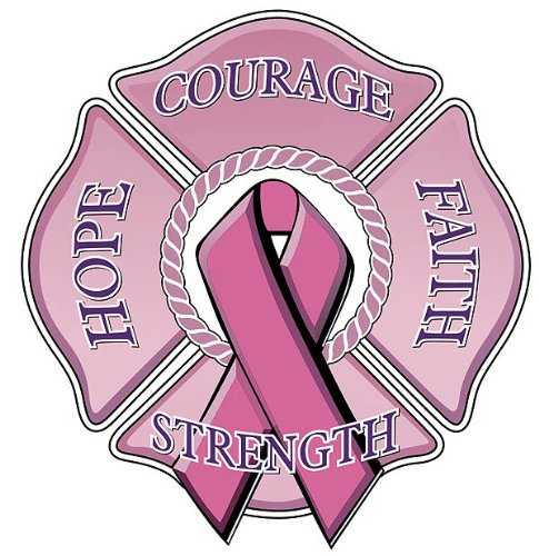 Faith Pink Ribbon (Hope Courage Faith Pink Ribbon Maltese Cross Reflective Decal - 4 in. Decal)
