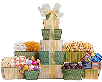 Wine Country Gift Baskets Ghirardelli, Godiva Chocolate and More Gift Tower. Christmas Chocolate Gift Basket. Holiday Gift Tower.