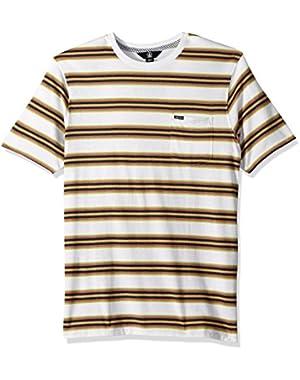 Men's Belfast Crew Short Sleeve Striped Knit Pocket Shirt