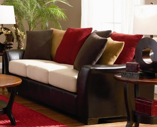 Amazon.com: Sofa with Microfiber Seat Cushions in Dark Brown Leather ...