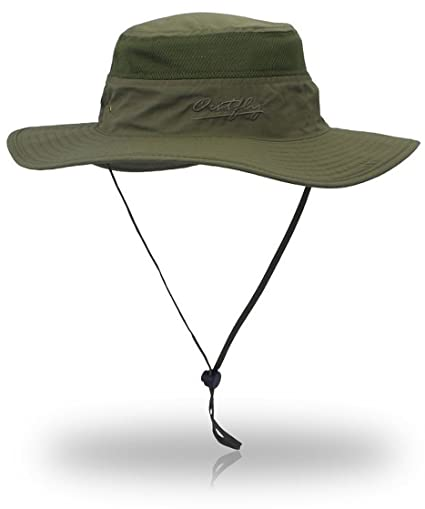 YOYEAH UPF 50+ Wide Brim Sun Protection Hat Outdoor Mesh Sun Hat Windproof  Fishing Hats e616cd8ab71