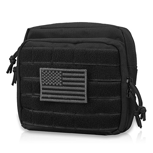 AMYIPO MOLLE Tactical Pouch Multi-Purpose Military Bag Tool Bag Map Pouch Organizer EMT Utility Pouch (Black)