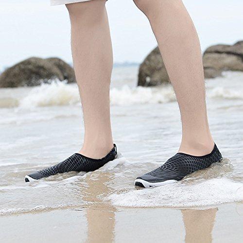 Kitleler Wasser Schuhe für Männer Frauen Barfuß Quick-Dry Aqua mit Drainage Loch für Strand Yoga Schwimmen W-schwarz