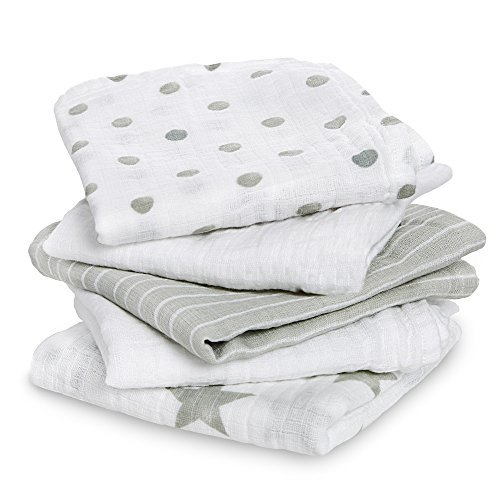 aden by aden + anais Musy Squares 5 Pack, Dusty
