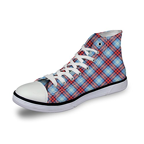 Bigcardesigns Unisex Casual High Top Retro Canvas Skate Shoes Plaid Sneakers Blue Red 2 lJIvO8N1