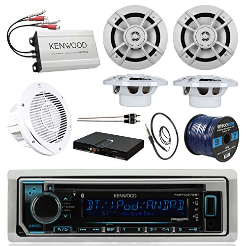 BOAT SOUND SYSTEM PACKAGE: Kenwood Marine Bluetooth Receiver + Kenwood Compact 4-Ch Amp, + 4 6.5 Inch Marine Speakers + Kenwood 10″ Woofer & Sub Amp Kit + 10 Foot RCA Cable + 50 Ft Wire, Antenna