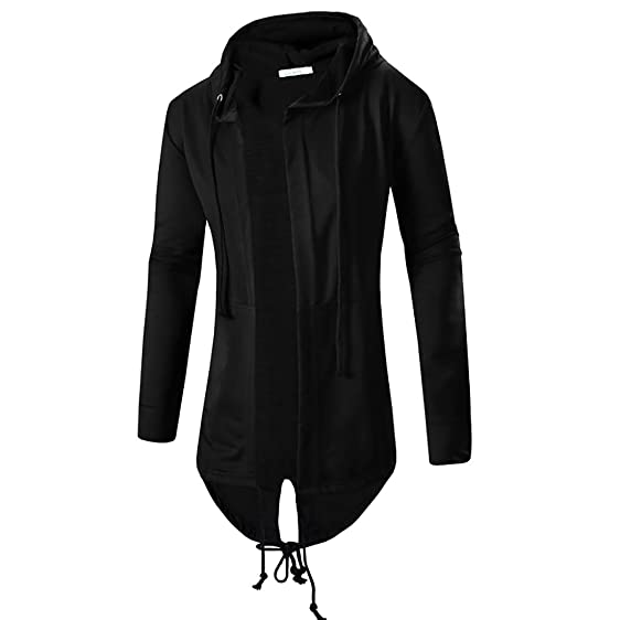 Comeon Men's Black Hooded Cardigan Cool Long Length Large Open ...