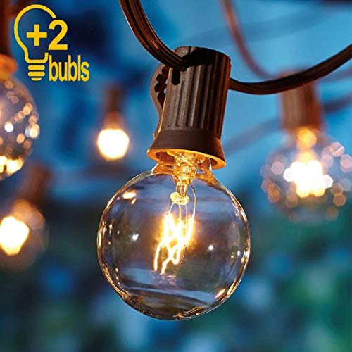 Goothy Globe Holiday String Lights with G40 Bulbs (50ft.) Backyard Patio Lights Garden Bistro Party Natural Warm Bulbs Cafe Hanging Umbrella Lights on Light String Indoor Outdoor-Brown