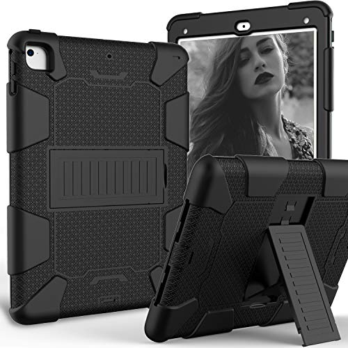 LLcase iPad 9.7 2018 2017 Case/iPad Pro 9.7 Case/iPad Air 2 Case,Heavy Duty Three Layer Shockproof Rugged Armor Full-Body Protective Cover with Kickstand for 9.7 Inch iPad 6th/5th Gen (Black)