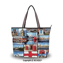 SCOCICI Tote Bag Oversized Shoulder Handbag Purse England,England City Red Tele