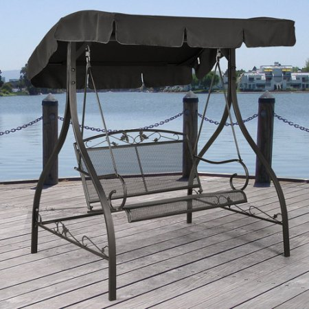 Mainstays Jefferson Wrought Iron Outdoor Swing, Seats 2 ()