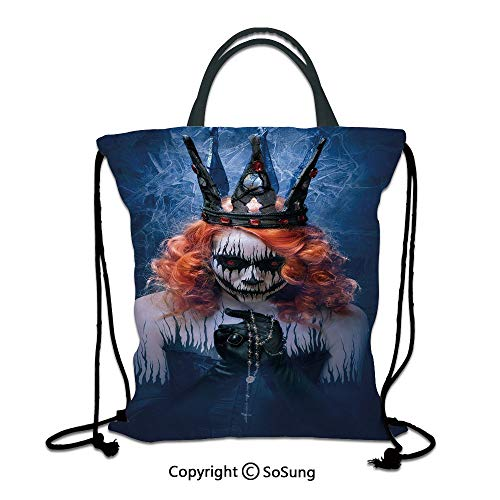 Queen 3D Print Drawstring Bag String Backpack,Queen of Death Scary Body Art Halloween Evil Face Bizarre Make Up Zombie,for Travel Gym School Beach Shopping,Navy Blue Orange Black]()