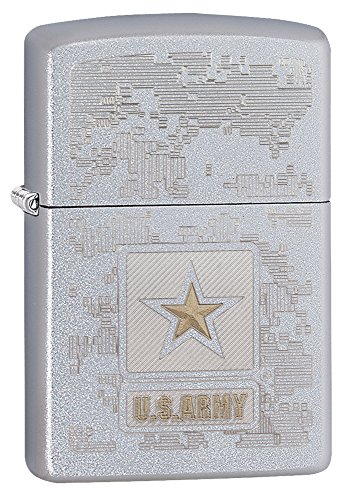 Zippo US Army Logo Pocket Lighter, Satin Chrome