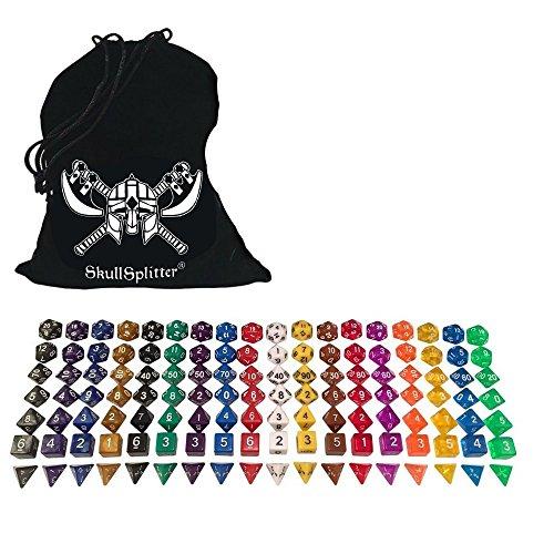 Skull Splitter Dice- One Pound Bag- 126 Polyhedral RPG Dice- 18 Complete Sets- Velvet Pouch (Value Pack 1 Lb Chips)
