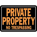 "Hy-Ko 848 Private Property No Trespassing Sign, 10"" x 14"", Aluminum"