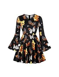 FarJing Christmas Dress, Women V-Neck Flare Sleeve Dress Fox Pattern Print Dress