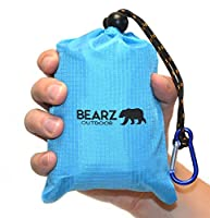 """BEARZ Outdoor Pocket Blanket 55""""x60"""" - Compact & Waterproof Picnic Blanket Great for the Beach, Travels, Hiking, Camping, Festivals - Durable, Sand Proof with Corner Pockets, and Loops with Bag"""