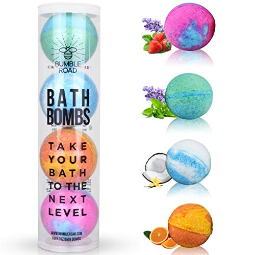 Bath Bombs Gift Set of 4 - Lush All-Natural, Organic, Vegan, Essential oils, Extra Large, Long Lasting, Smells Amazing