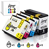 Smart Ink Compatible Ink Cartridge Replacement for HP 932 XL 933 XL 932XL 933XL High Yield 4 Combo Pack (Black & C/M/Y) Ink Cartridges High Capacity for HP Officejet 6600 6100 6700 7110 7610 7612