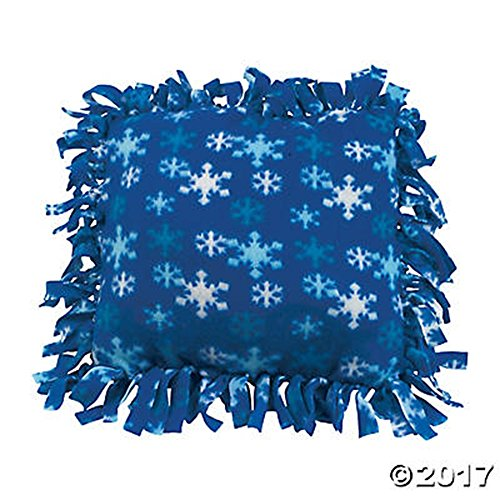 SET of 6 Blue Snowflakes Winter Fleece Tied Pillow Craft Kit ()