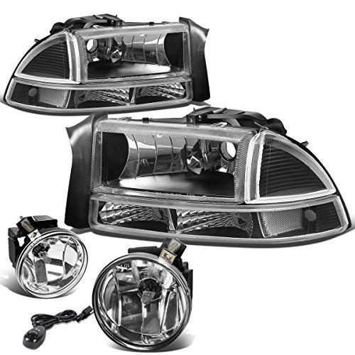 - For Dodge Dakota/Durango 4pcs Black Headlight+Bumper Light Clear Corner + Pair of Bumper Driving Fog Light Smoked Lens