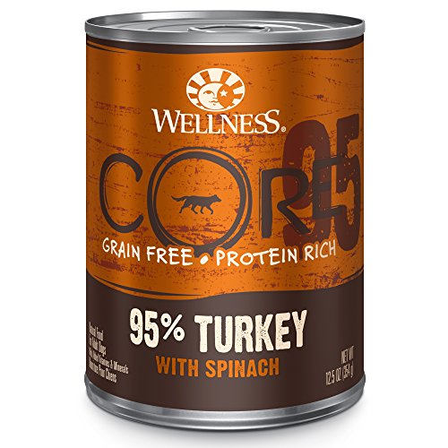 - Wellness Core 95% Grain Free Turkey & Spinach Natural Wet Canned Dog Food Mixer Or Topper, 12.5-Ounce Can (Pack Of 12)