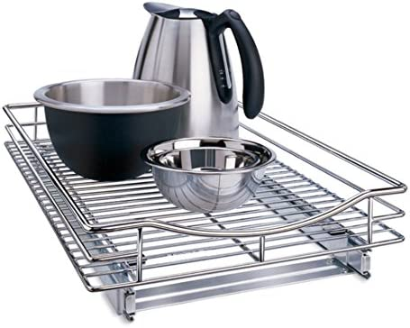 Lynk Professional Roll Out Cookware Organizer 11 Inch Wide x 21 Inch deep Pull Out Under Cabinet Sliding Rack Chrome