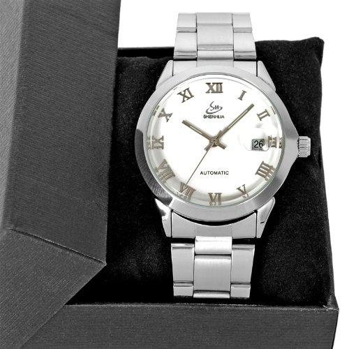 Classic Silver Steel Automatic Mechanical Retro Date Womens Mens Wrist Watch