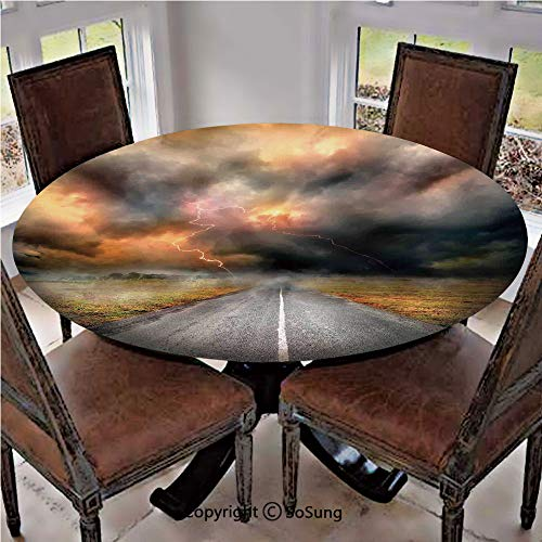 - Elastic Edged Polyester Fitted Table Cover,Dusty Storm Clouds and Lightning over Highway in the Field Electrical Activity Print,Fits up 40