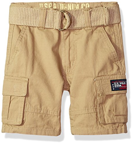 (U.S. Polo Assn. Boys' Toddler Short, Washed Cargo Dark Khaki, 2T)