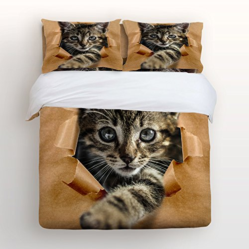 Libaoge 4 Piece Bed Sheets Set, Lovely Baby Cat Print, 1 Flat Sheet 1 Duvet Cover and 2 Pillow Cases by Libaoge (Image #7)