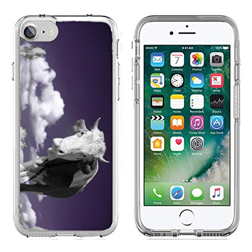 MSD Apple iPhone 7/iPhone 8 Clear case Soft TPU Rubber Silicone Bumper Snap Cases iPhone7/8 IMAGE ID: 4751899 A cow is in the field is in an infra red color shoot special photocamera ()
