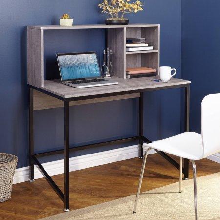 Porter Desk with Hutch, Black/Gray