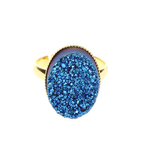 Oval Shape Agate Druzy Blue Stone Ring for Women Druzy ()