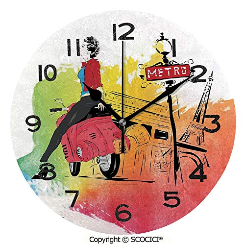 SCOCICI Round Wall Clock Woman On Pink Motorcycle Trend Vogue in Paris Eiffel Tower Art Print 10 inch Morden Wall Clocks Silent Round Decorative Clock