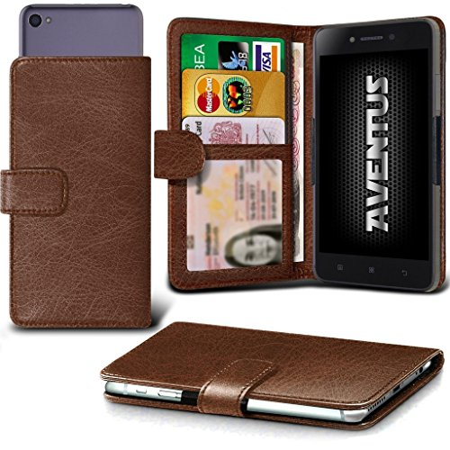 Card Wallet Universal Aventus Slot Leather Grand Banknotes 5 Clamp Case Holder with 5 Camera Green Spring Premium Slide HD and Pocket Case Clamp PU Brown Wallet BLU OvqUO