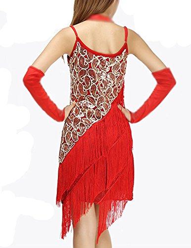 Tango Dorado Redondo Cuello Elegante Rojo Baile Tirantes Señoras Salsa Vestido Latino Borla 5xpPPR