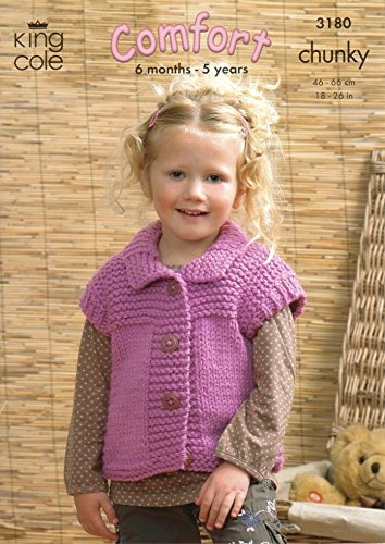 King Cole Children S Sweater Gilet Jacket Comfort Chunky Knitting