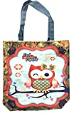 Canvas Owl Tote Bag, with Zipper Closure, Large Compartment, Perfect for School, Work, or the Beach (Owl Loves You Forever) For Sale