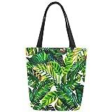 InterestPrint Tropical Leaves Pattern Canvas Tote Bag Shoulder Handbag for Women Girls