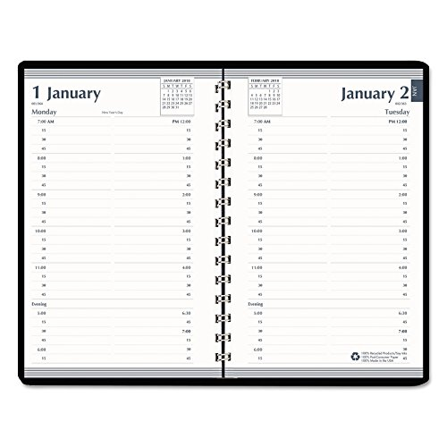 House of Doolittle 28802 Daily Appointment Book, 15-Minute Apppointments, 5 x 8, Black, 2018