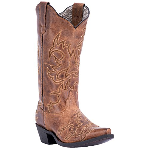 Laredo Womens Tan Cowboy Boots Leather Cowboy Boots Snip Toe